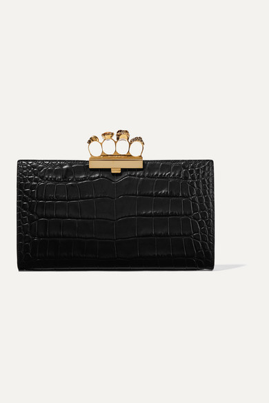 Alexander Mcqueen Clutch Four Ring embellished croc-effect leather clutch