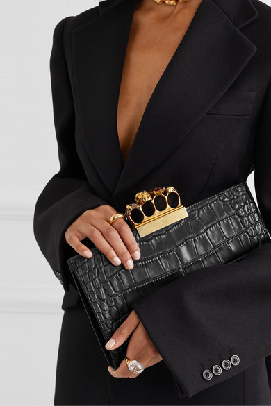 Four Ring Embellished Croc Effect Leather Clutch by Alexander Mc Queen