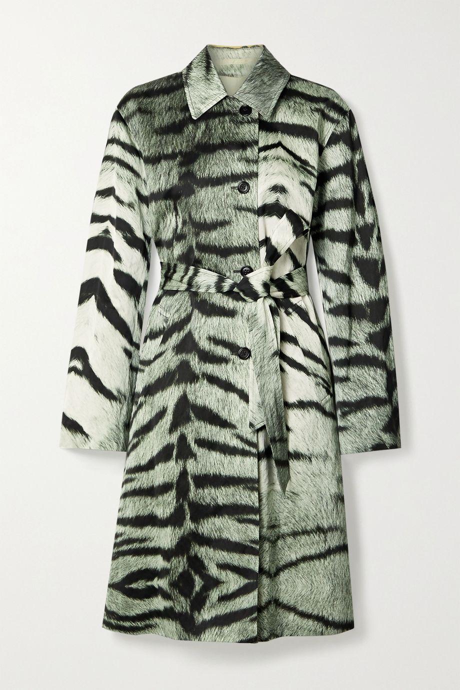 Dries Van Noten Tiger-print satin trench coat