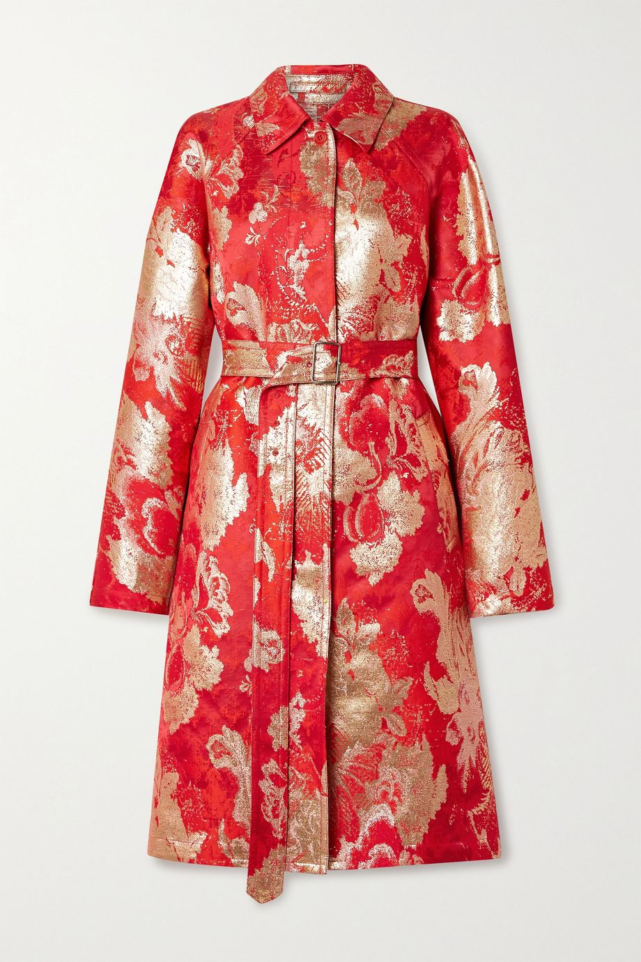 Dries Van Noten Belted metallic brocade coat