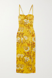Dipsi floral silk-jacquard midi dress