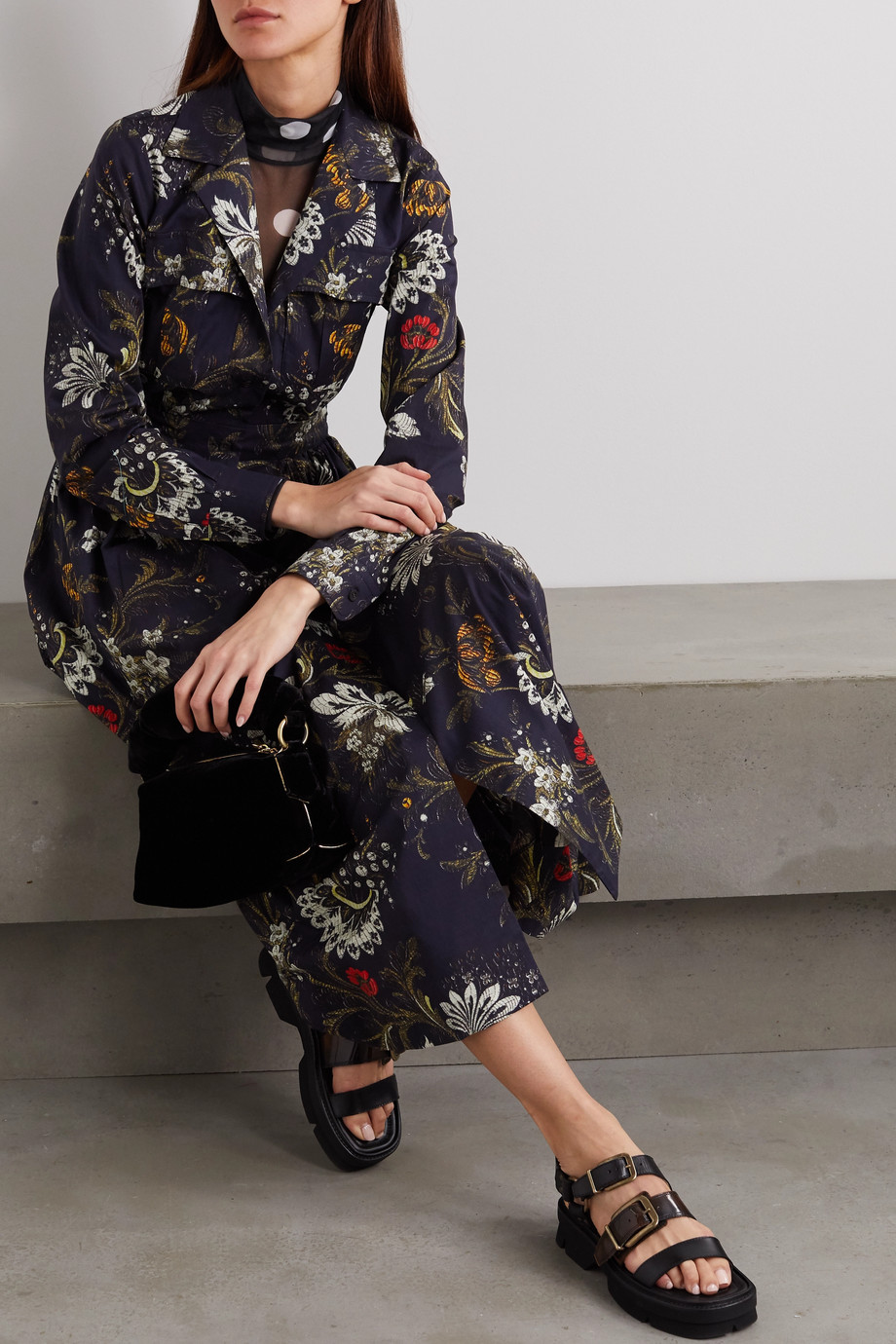 Dries Van Noten Floral-print cotton-jacquard shirt dress