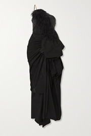 Ditomi asymmetric feather-trimmed crystal-embellished taffeta gown