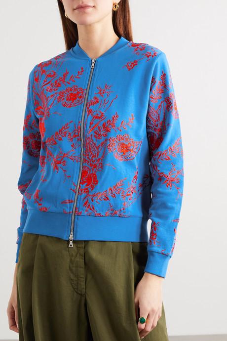 Haro embroidered cotton-ponte bomber jacket