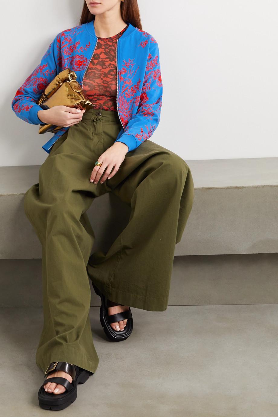 Dries Van Noten Embroidered cotton-ponte bomber jacket
