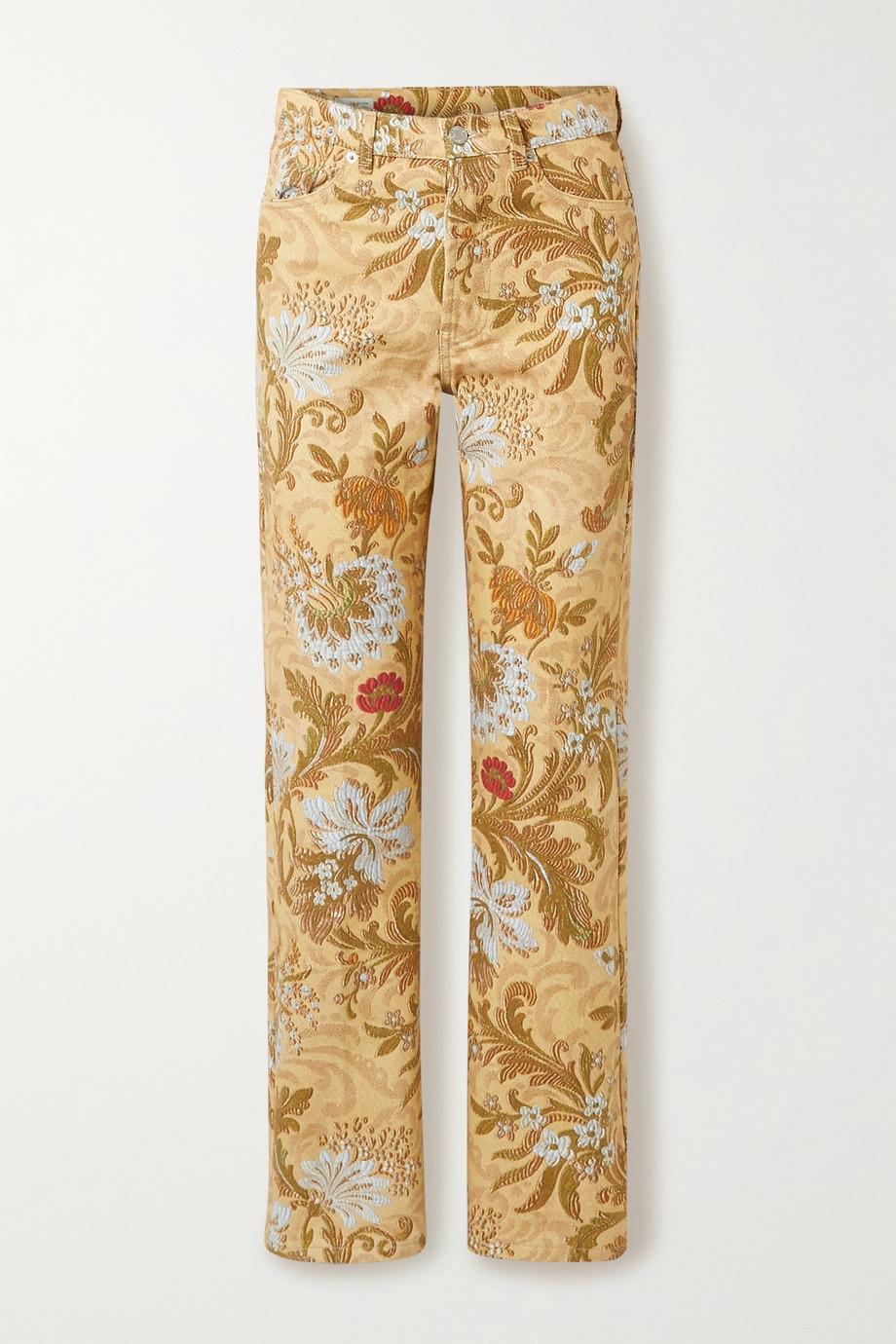 Dries Van Noten Cotton-jacquard straight-leg pants