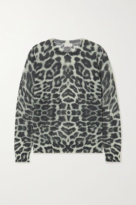 Leopard print Leopard-print cotton-blend sweater | Dries Van Noten jnPSzc