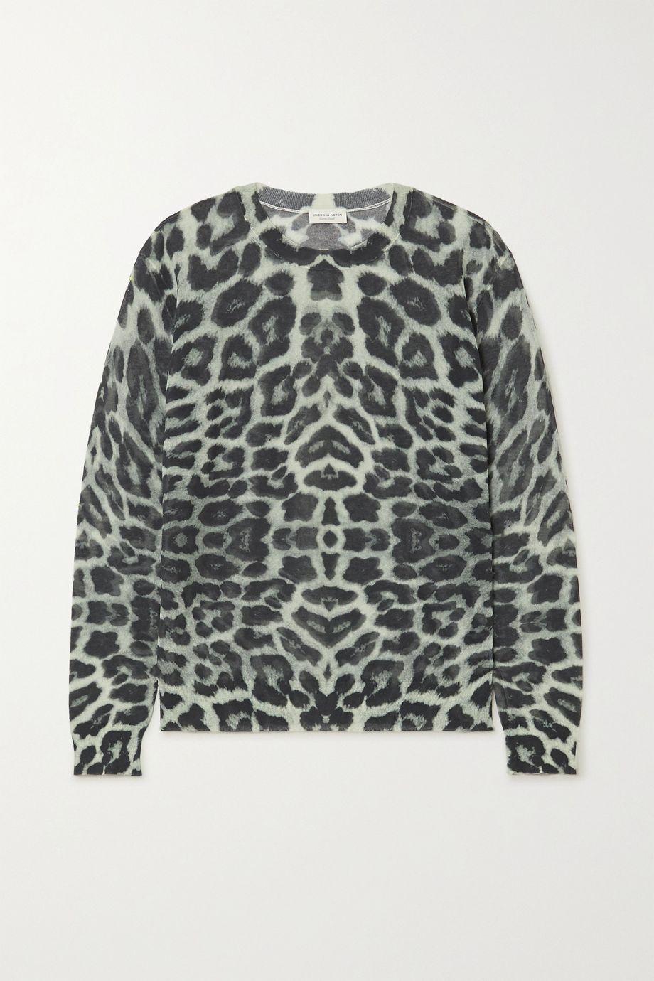 Dries Van Noten Pullover aus einer Baumwollmischung mit Leopardenprint