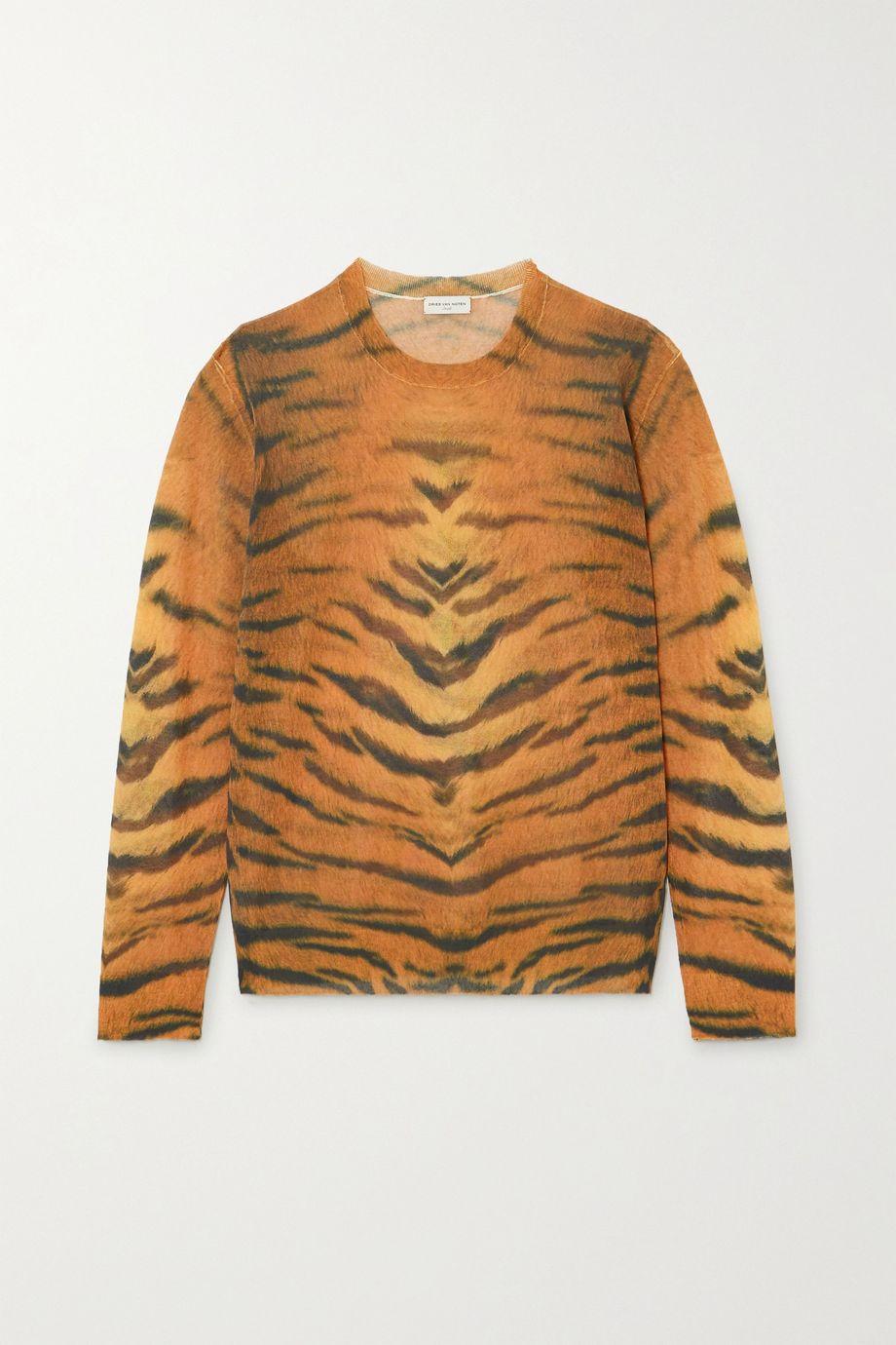 Dries Van Noten Tiger-print cotton-blend sweater