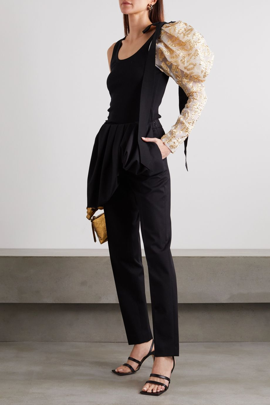 Dries Van Noten Layered cotton and wool-blend straight-leg pants