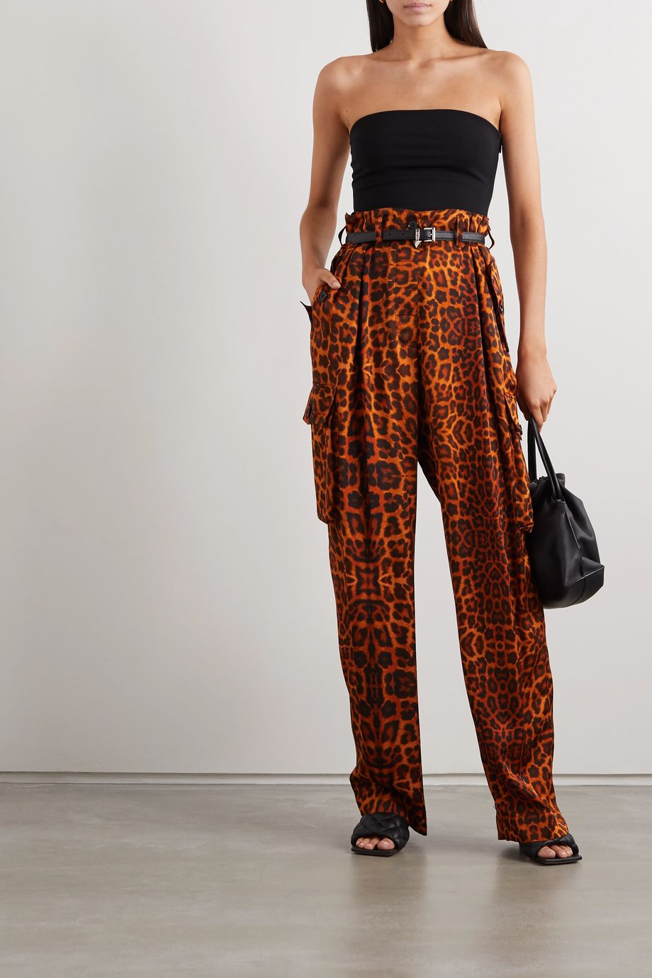 Dries Van Noten Leopard-print silk-satin cargo pants