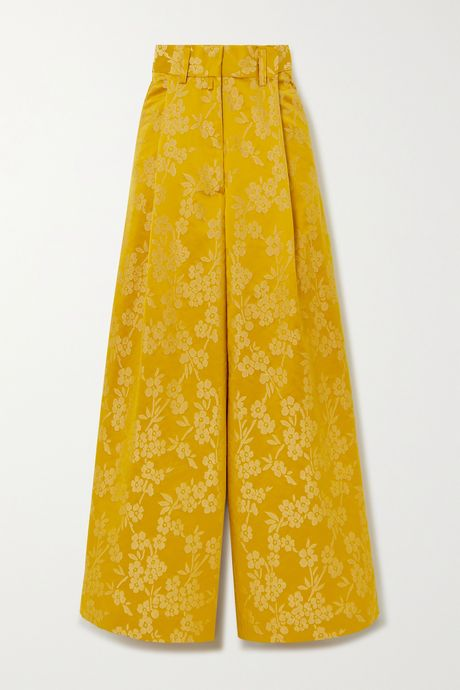 Yellow Floral-jacquard wide-leg pants | Dries Van Noten VUFO8C