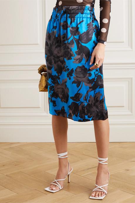 Solidos floral-print silk-satin skirt