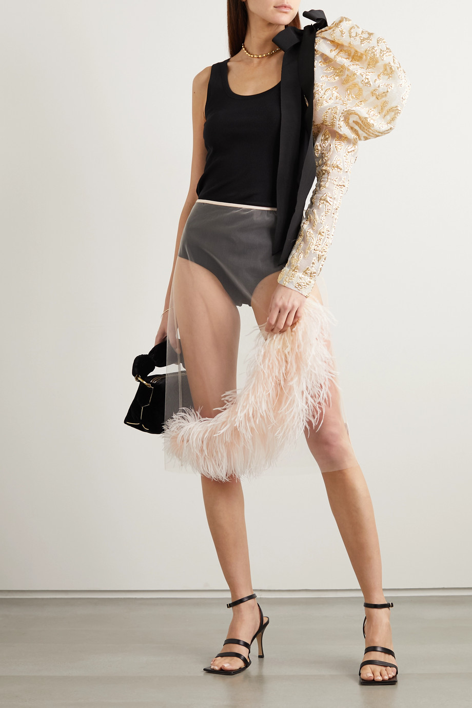 Dries Van Noten Feather and crystal-embellished tulle skirt