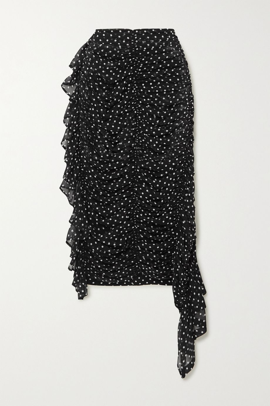 Dries Van Noten Asymmetric ruched polka-dot silk-georgette midi skirt