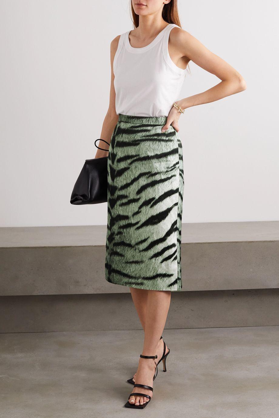 Dries Van Noten Zebra-print woven pencil skirt
