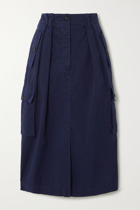 Navy Cotton-twill skirt   Dries Van Noten lH3BVT