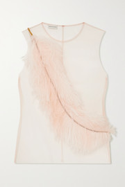 Embellished feather-trimmed tulle top