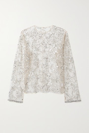 Dries Van Noten + Christian Lacroix embellished tulle top