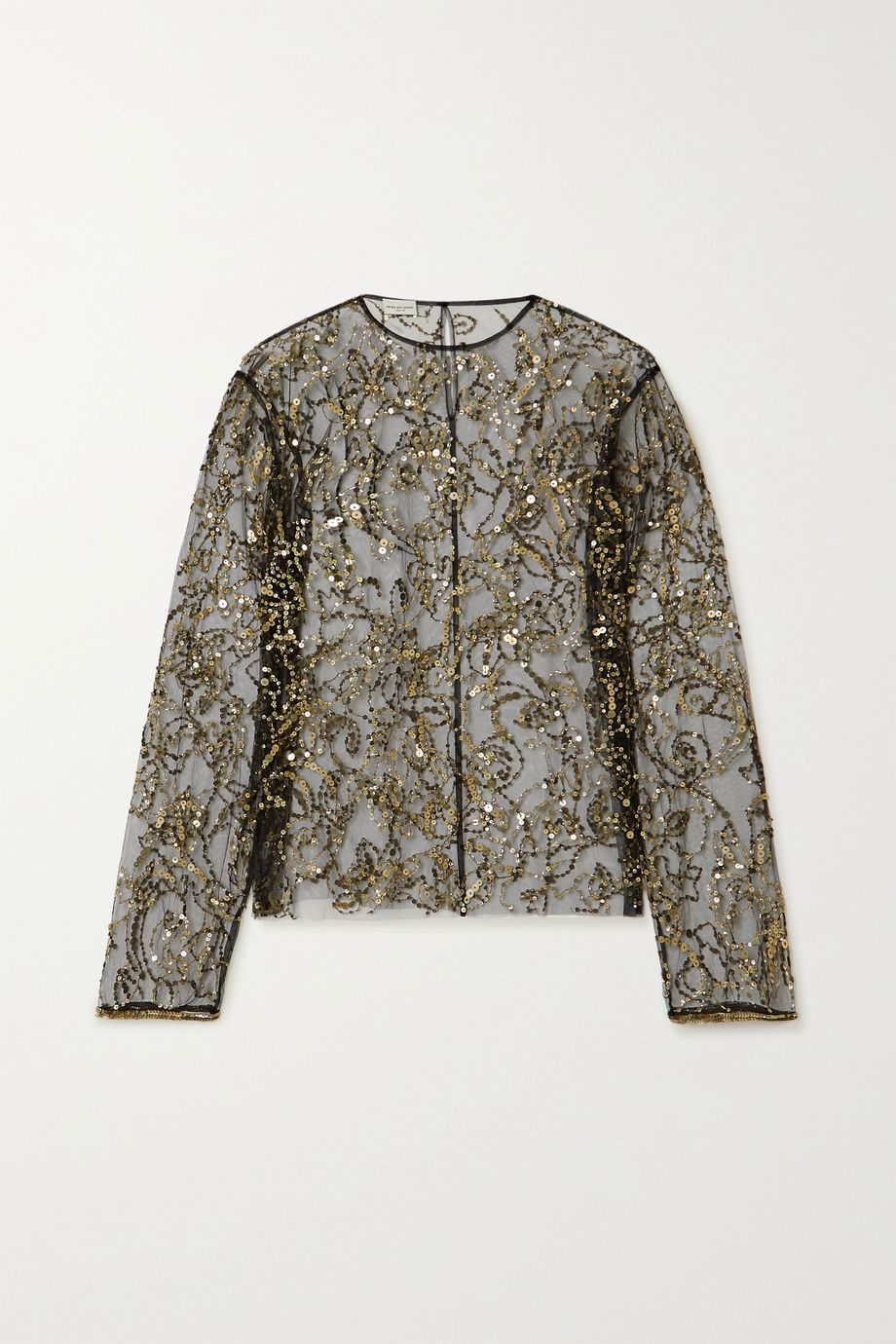 Dries Van Noten Sequin-embellished tulle blouse