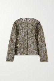 Dries Van Noten + Christian Lacroix Cure sequin-embellished tulle blouse