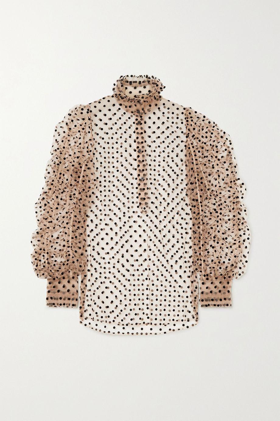 Dries Van Noten Ruffled flocked tulle blouse