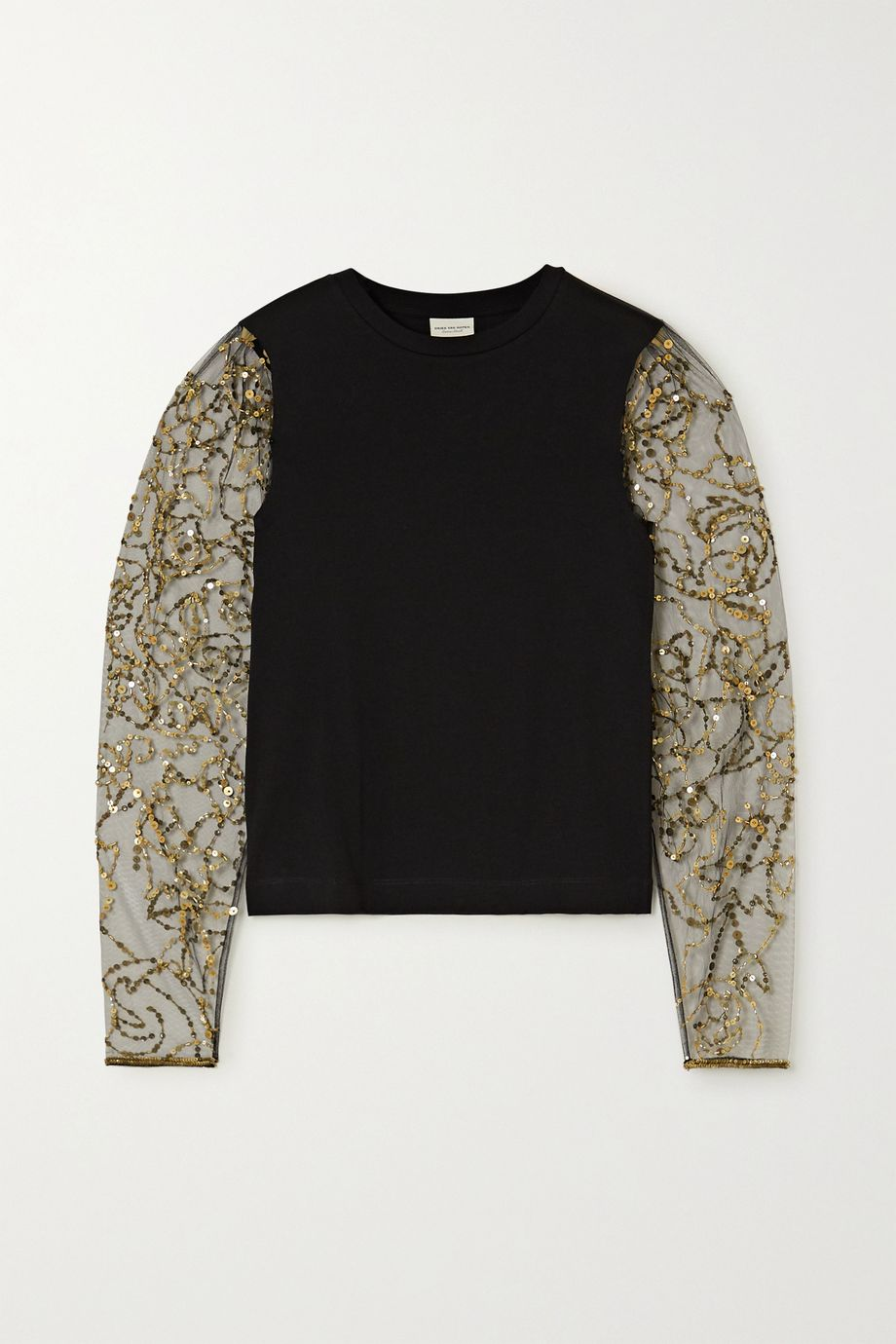 Dries Van Noten Embellished tulle and cotton-blend jersey top