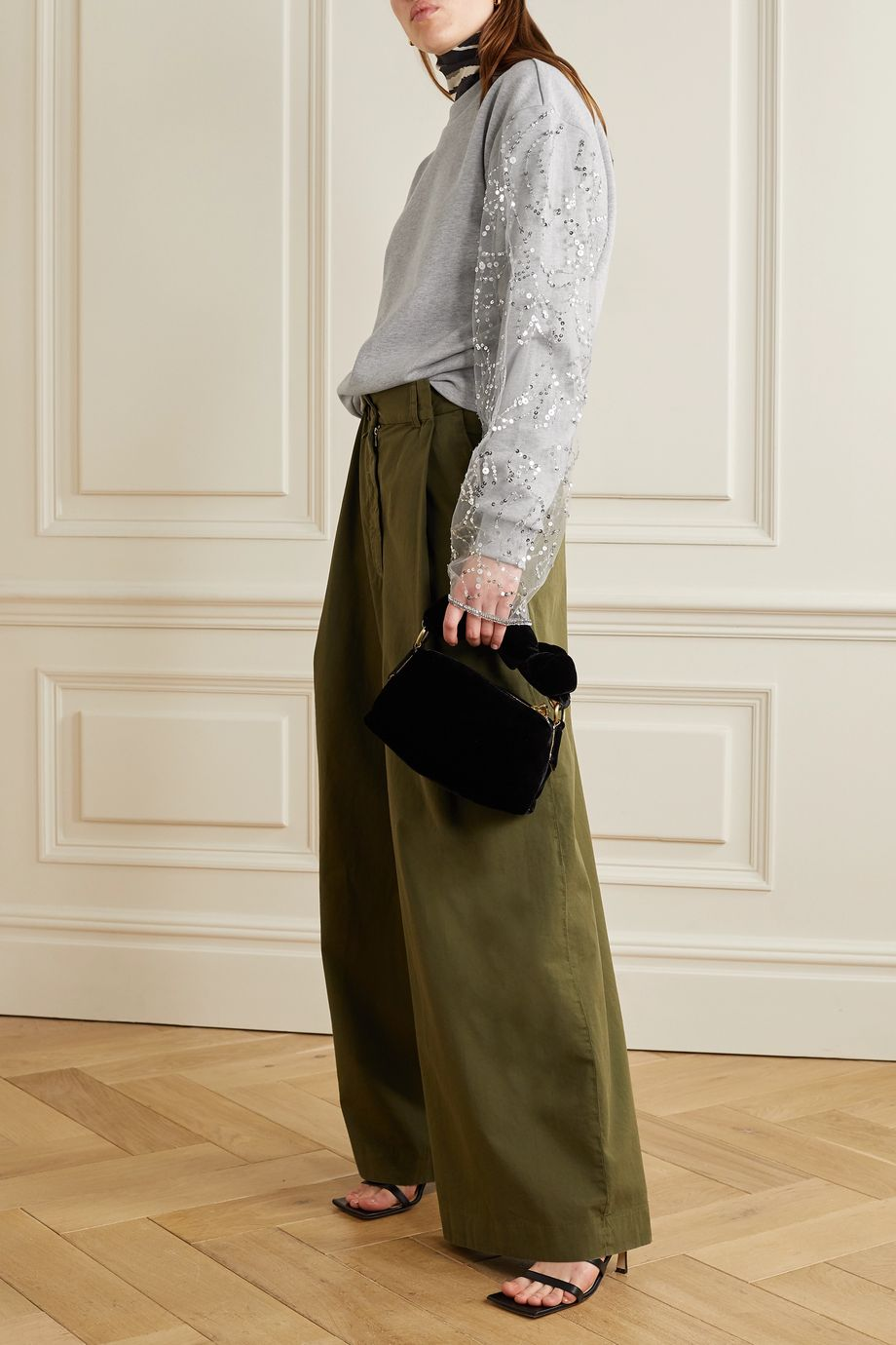 Dries Van Noten Embellished tulle-paneled cotton-blend jersey sweatshirt