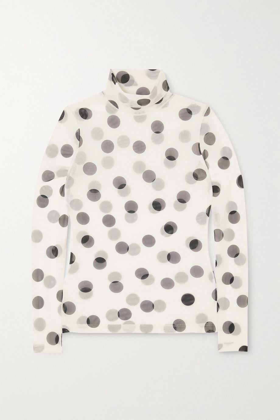 Dries Van Noten Polka-dot stretch-mesh turtleneck top