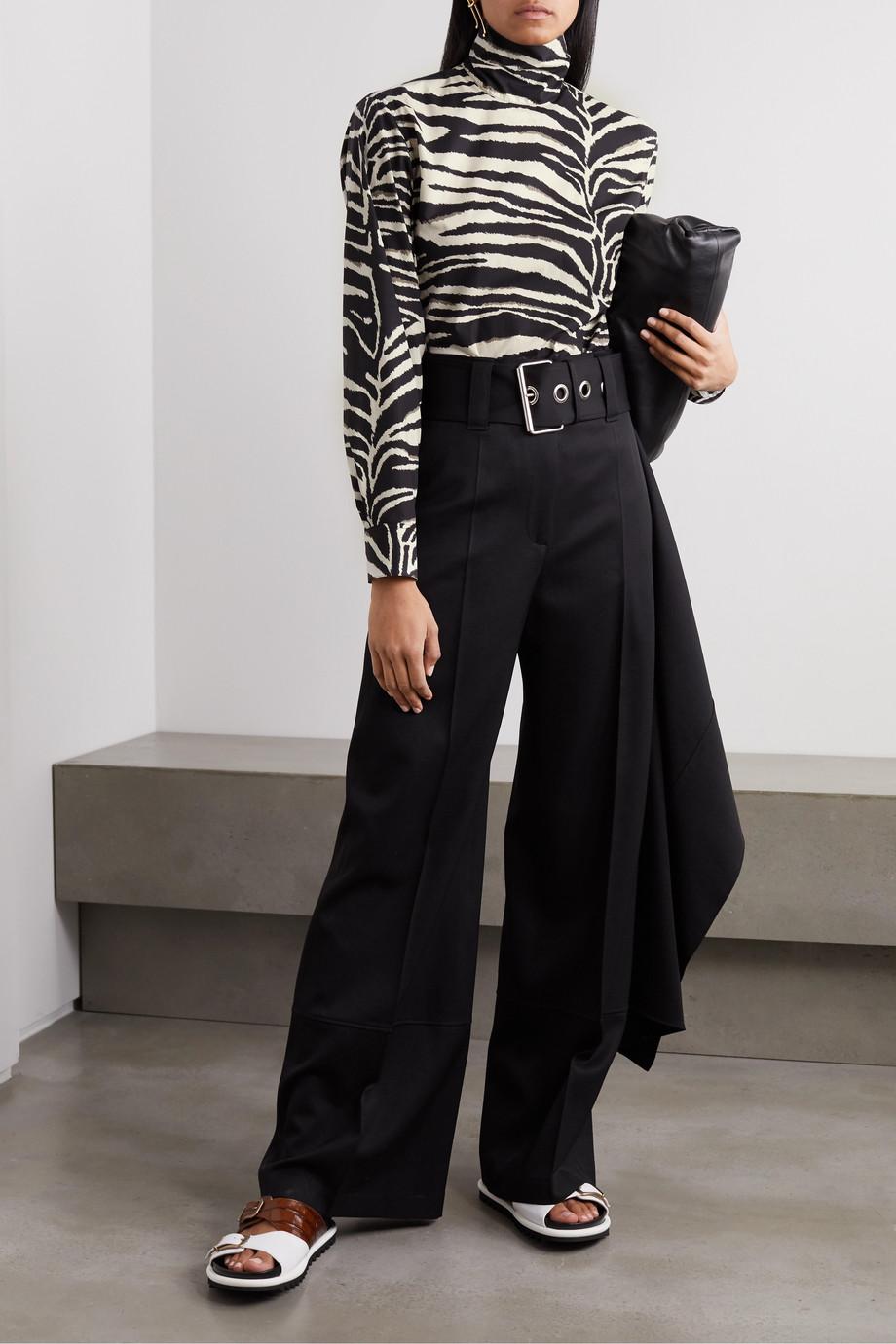 Dries Van Noten Bluse aus Baumwolle mit Zebraprint und Stehkragen