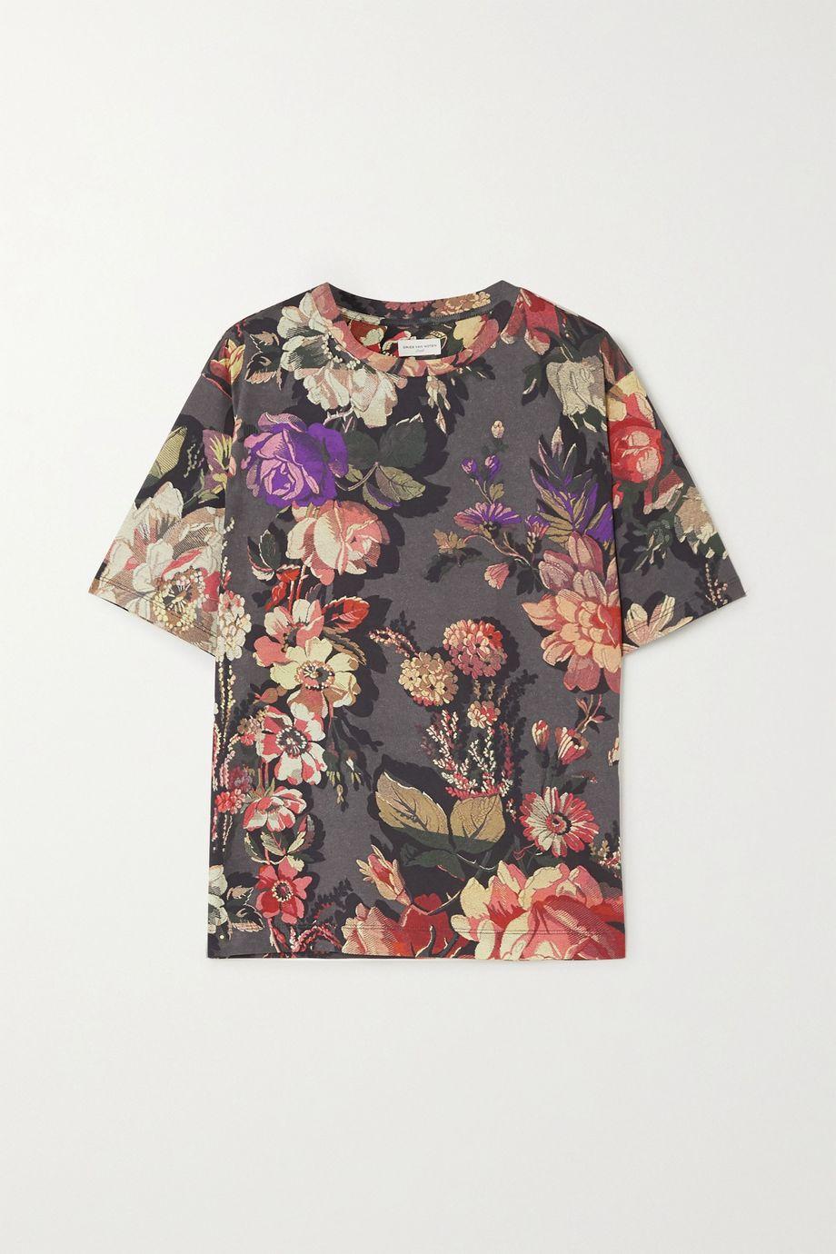 Dries Van Noten T-Shirt aus Baumwoll-Jersey mit Blumenprint