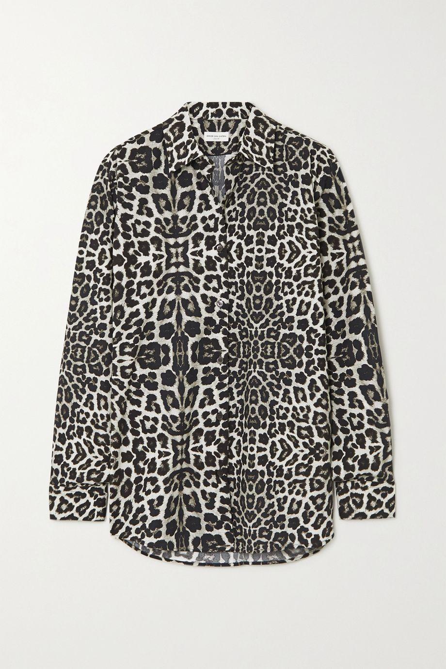Dries Van Noten Hemd aus Baumwollpopeline mit Leopardenprint