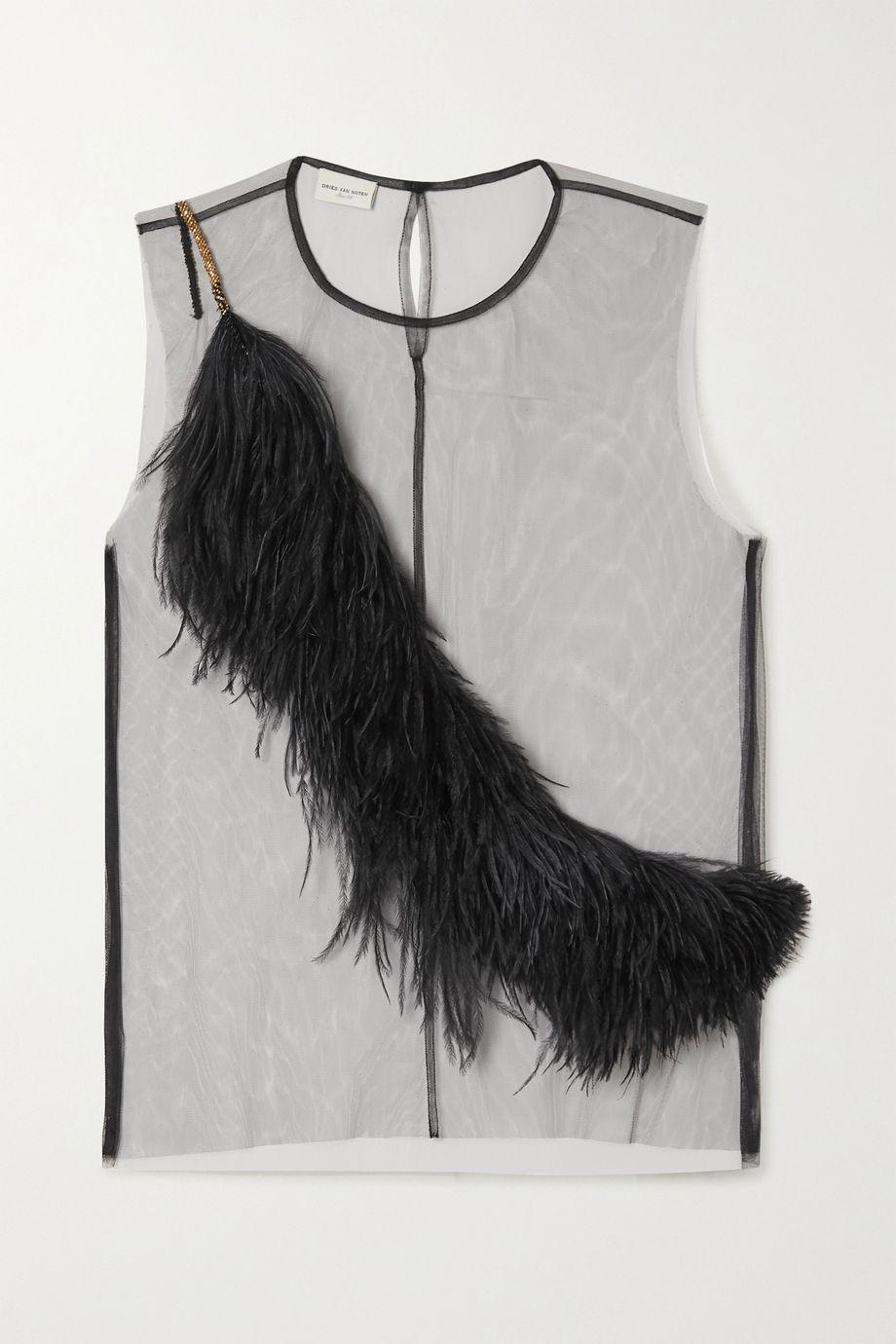 Dries Van Noten Feather-trimmed tulle top