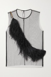 Dries Van Noten Feather-trimmed tulle top