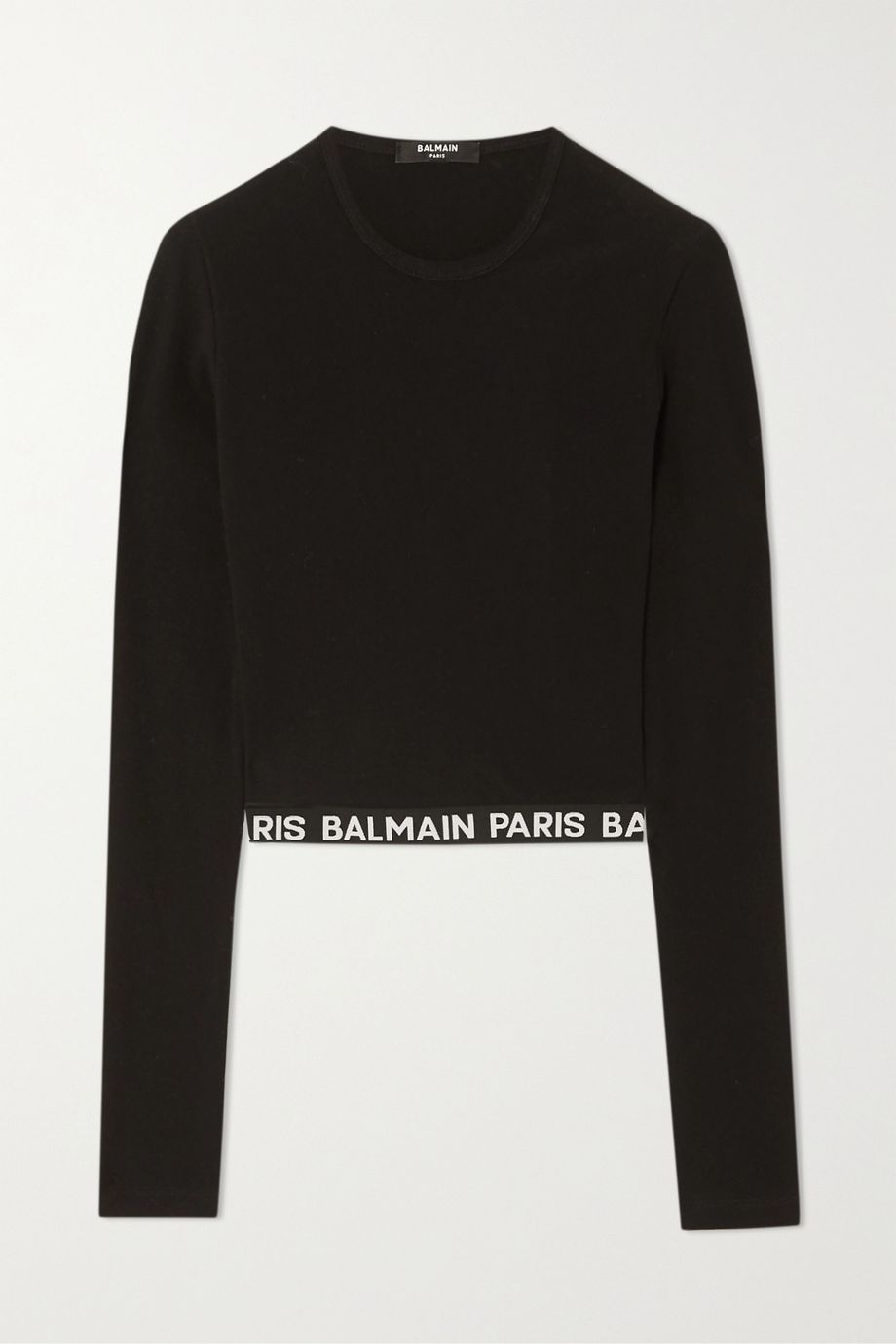 Balmain Cropped stretch-cotton top