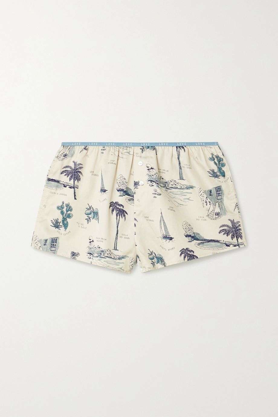Love Stories Sunday printed cotton-sateen pajama shorts