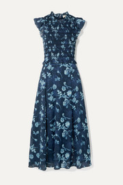 SEA Monet ruffled shirred floral-print cotton-voile midi dress