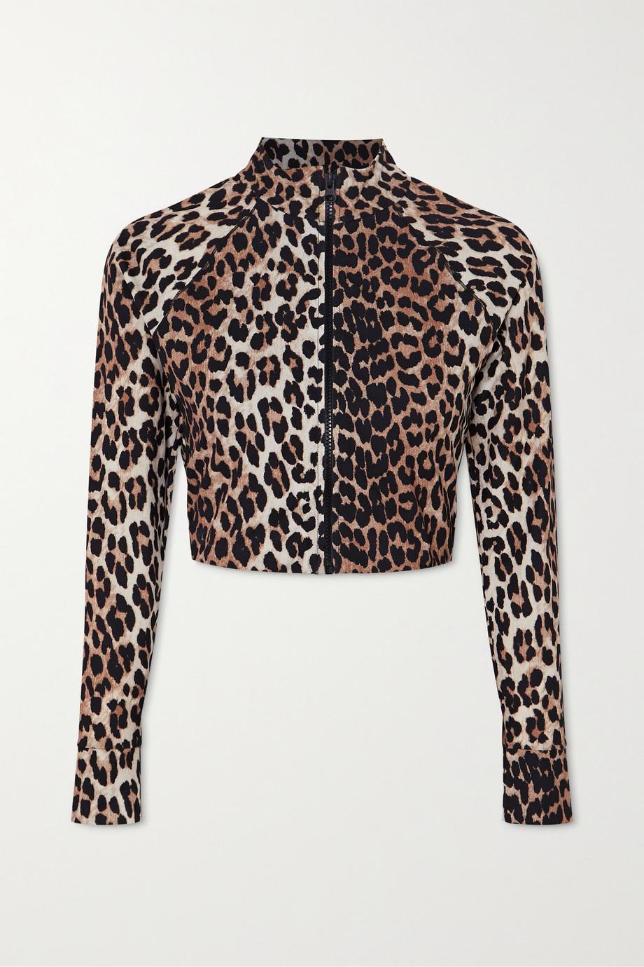 GANNI + NET SUSTAIN Bikini-Oberteil mit Leopardenprint