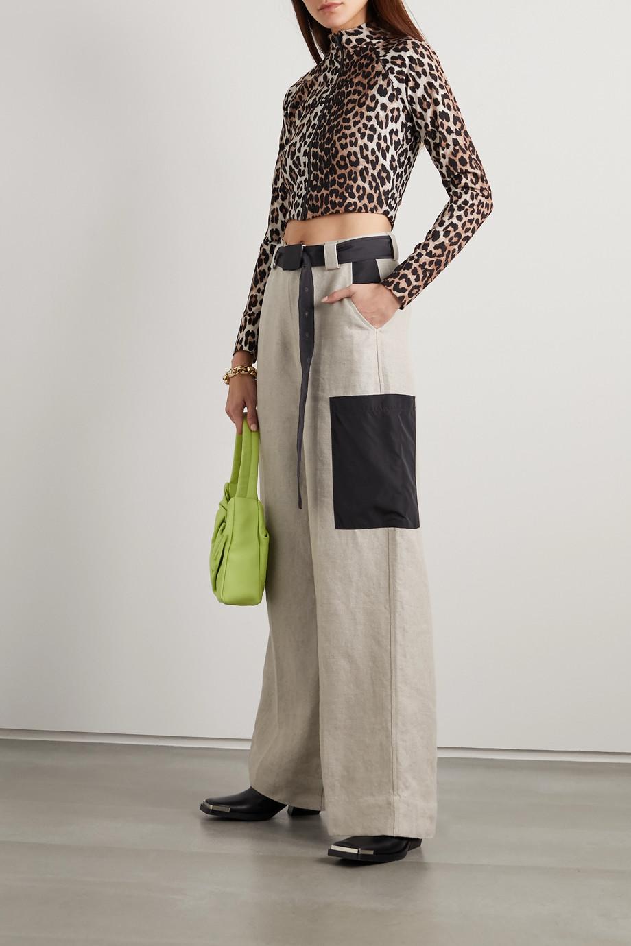 GANNI + NET SUSTAIN leopard-print bikini top