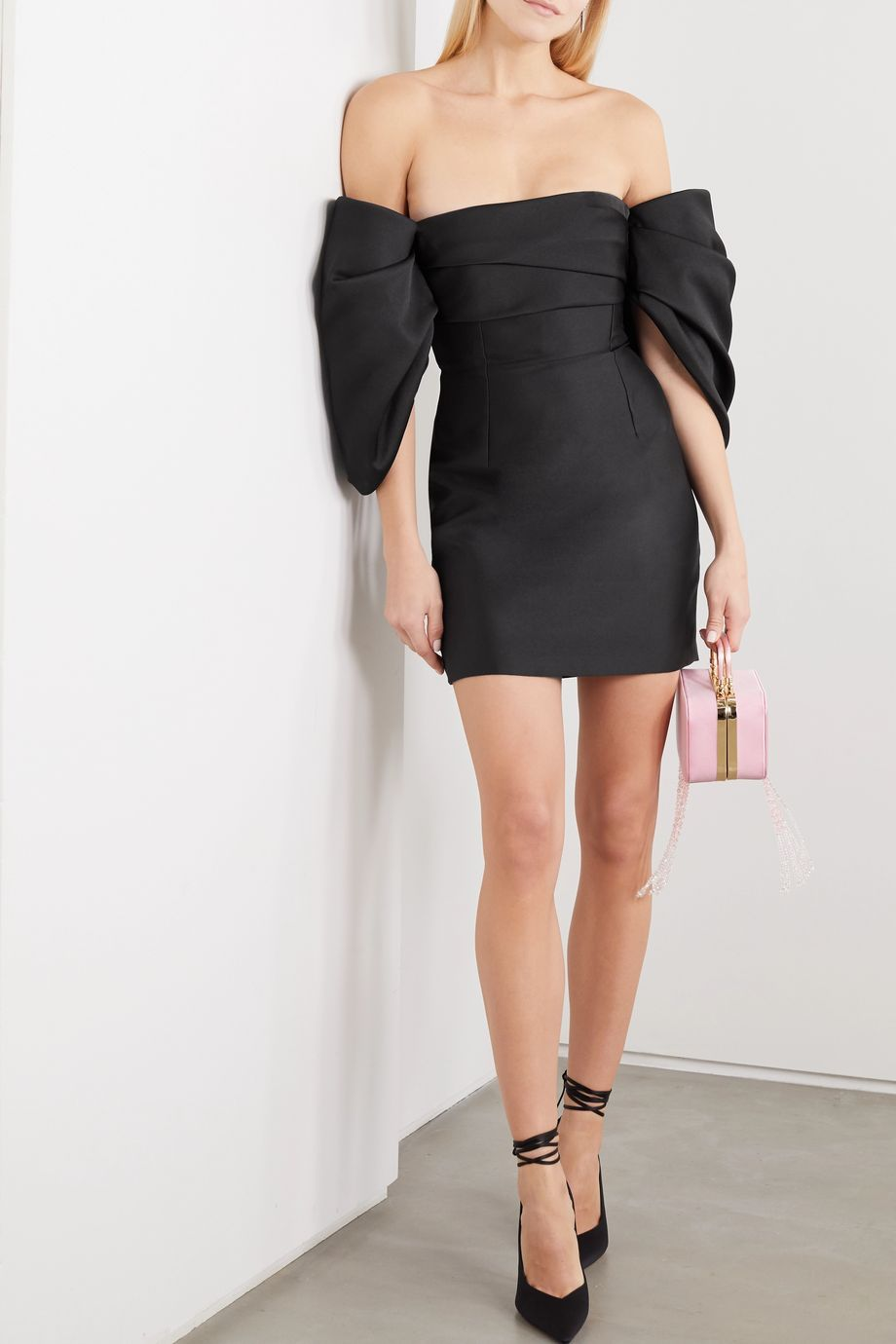 Solace London Elina off-the-shoulder cady mini dress