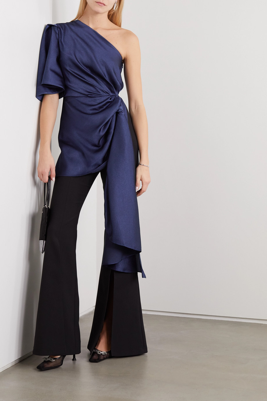 Solace London Tandee one-sleeve gathered hammered-satin and crepe jumpsuit