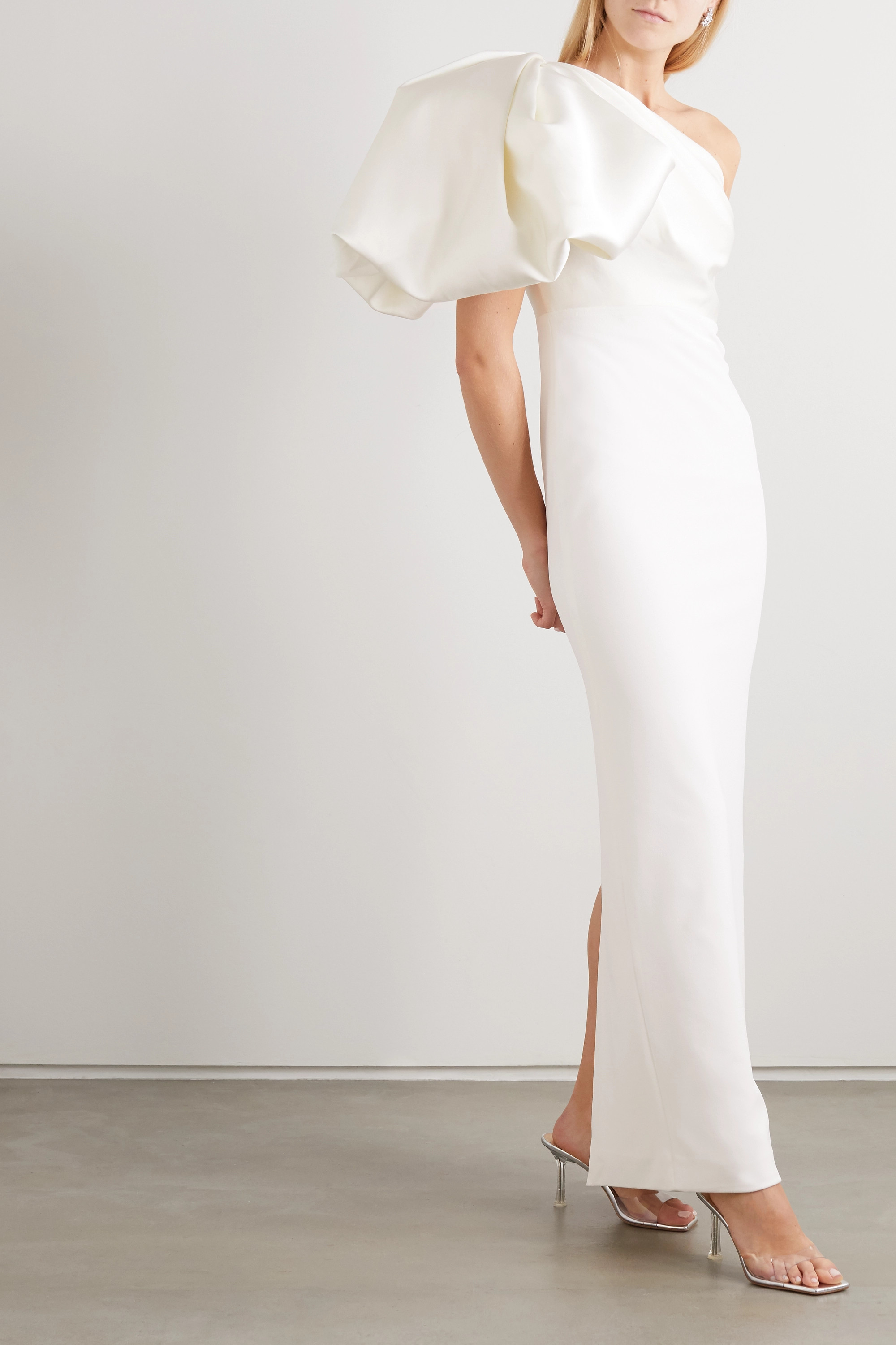Solace London Acacia one-shoulder gathered crepe and twill maxi dress