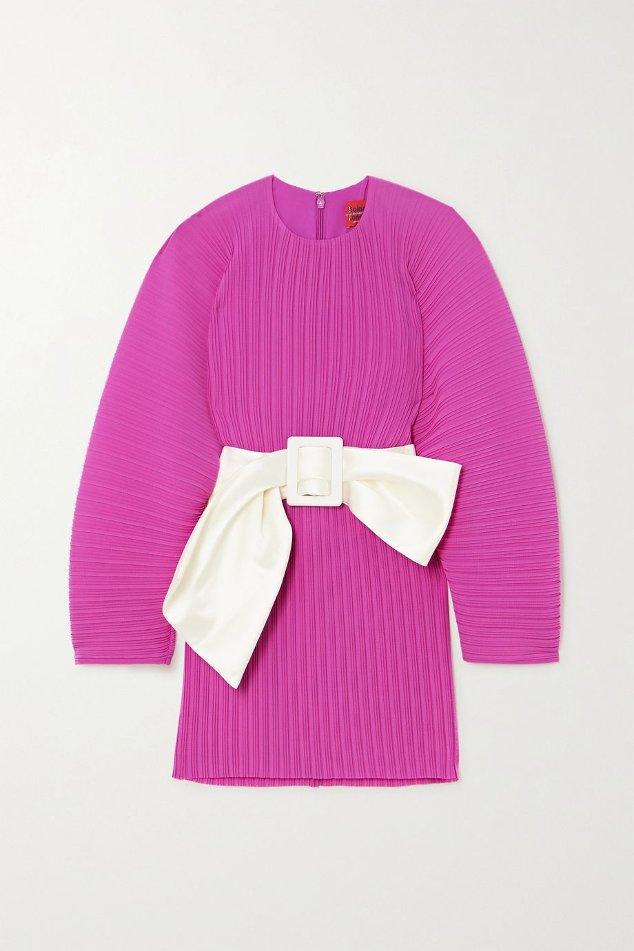 Solace London Tanzy belted plissé-crepe mini dress