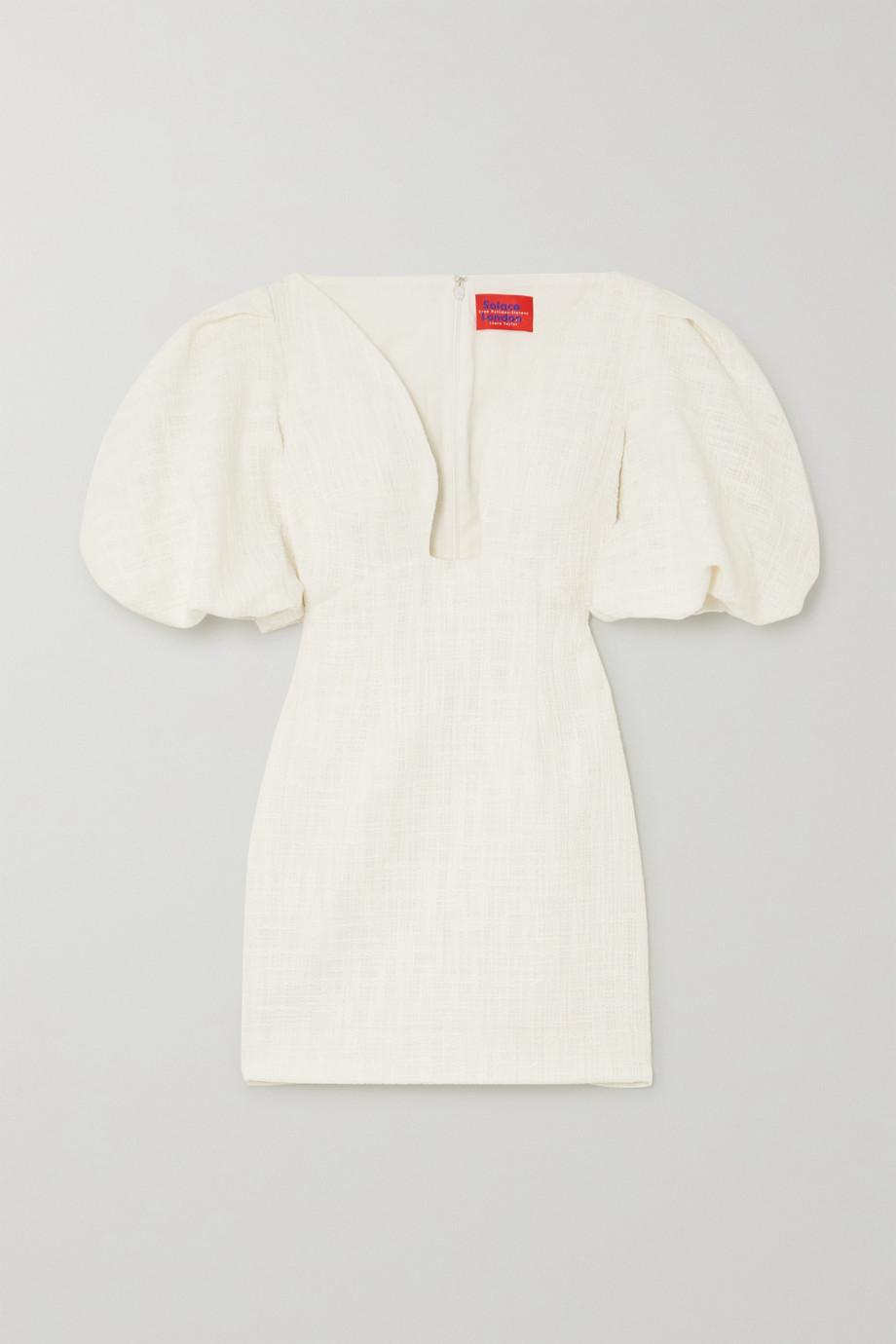 Solace London Delphi gathered cotton-tweed mini dress
