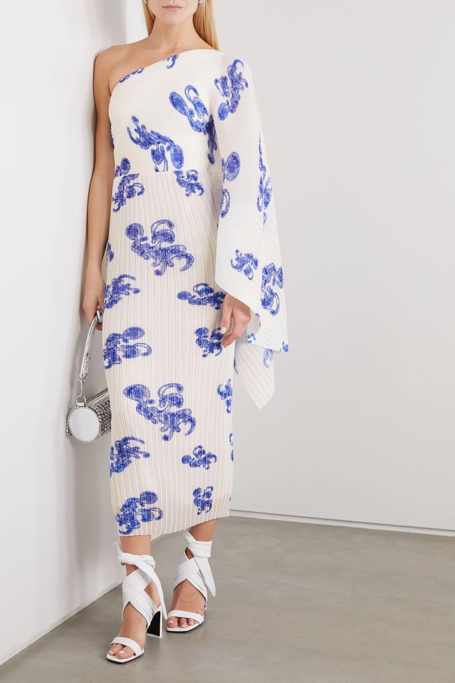 Solace London Lila one-shoulder printed plissé-crepe midi dress