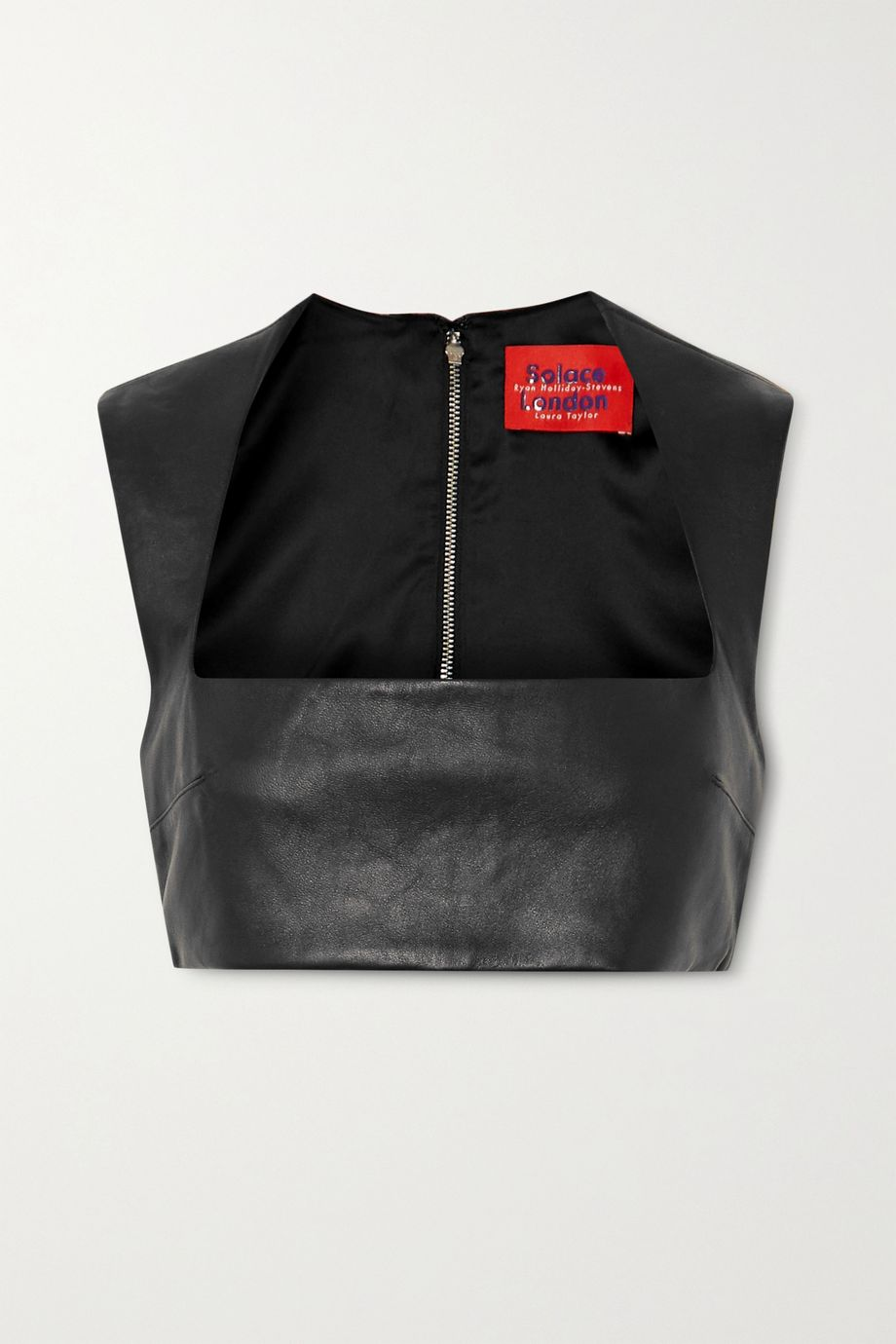 Solace London Hallie cropped leather top