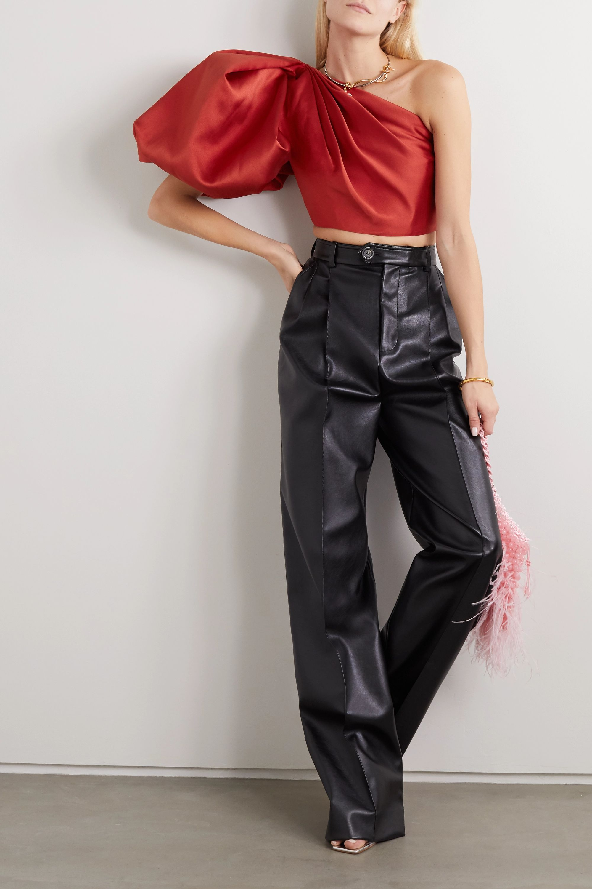 Solace London Corin cropped one-shoulder gathered satin-twill top