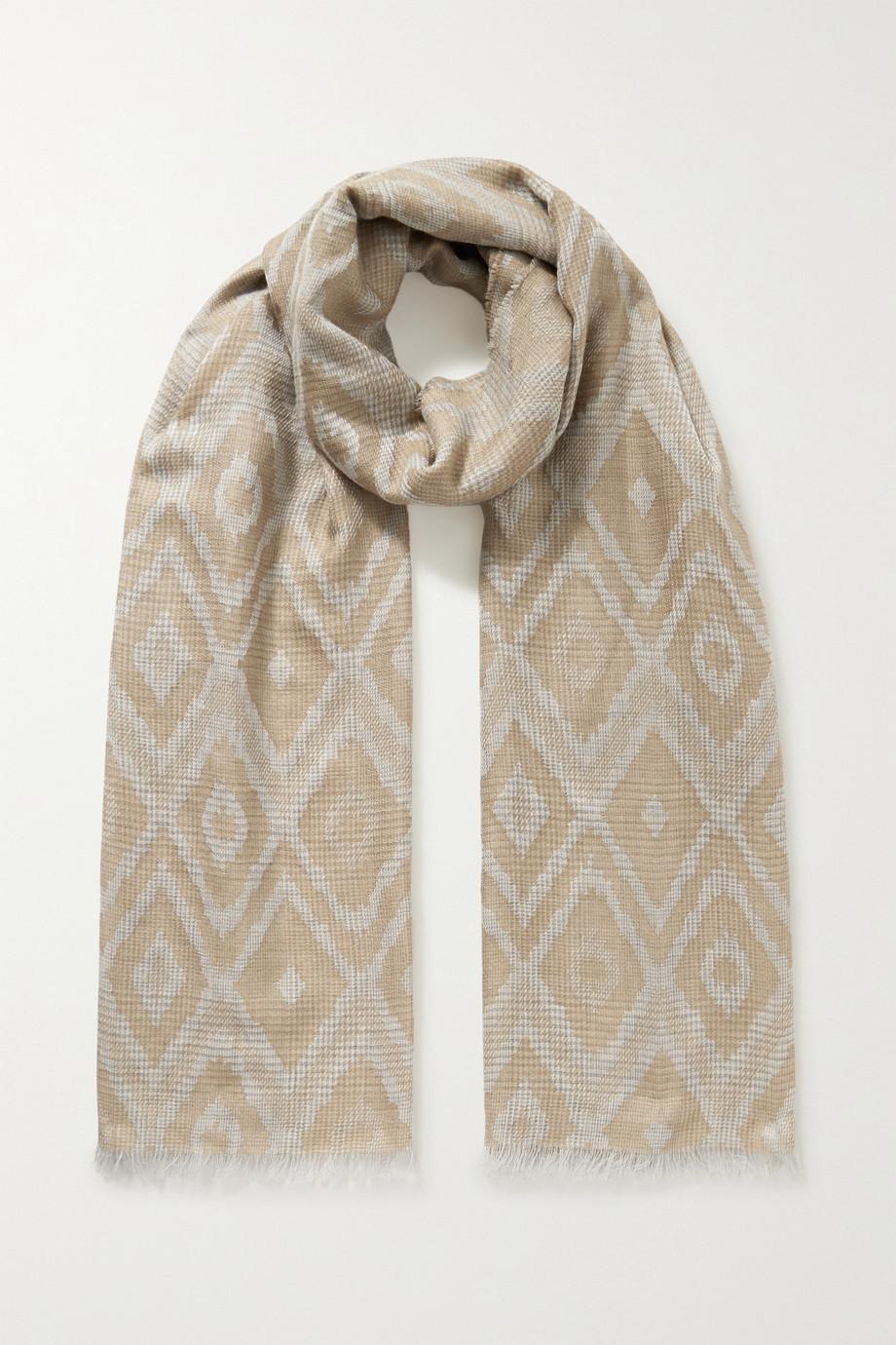 Johnstons of Elgin Frayed cashmere jacquard scarf