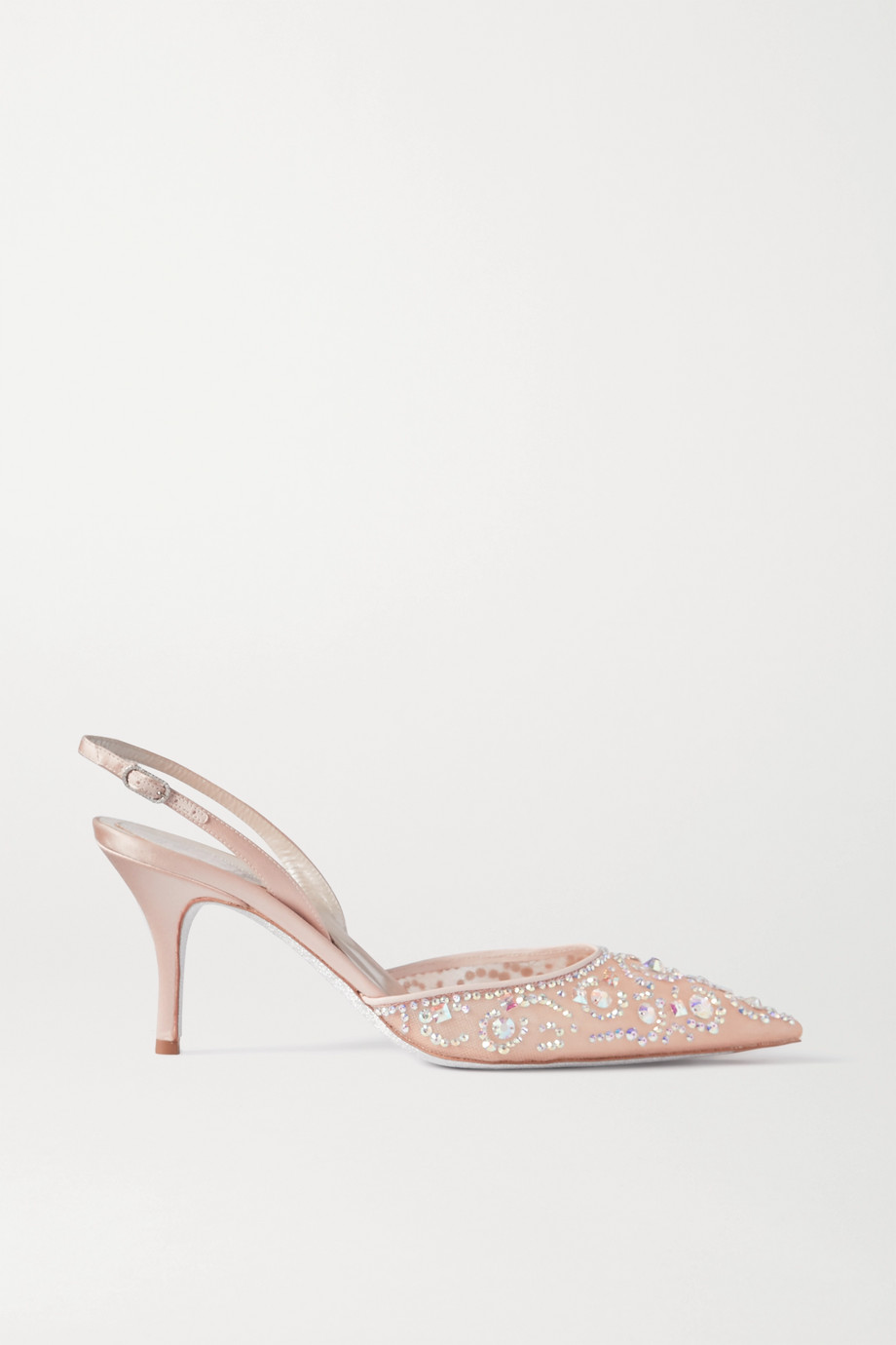 René Caovilla Veneziana crystal-embellished satin and mesh slingback pumps
