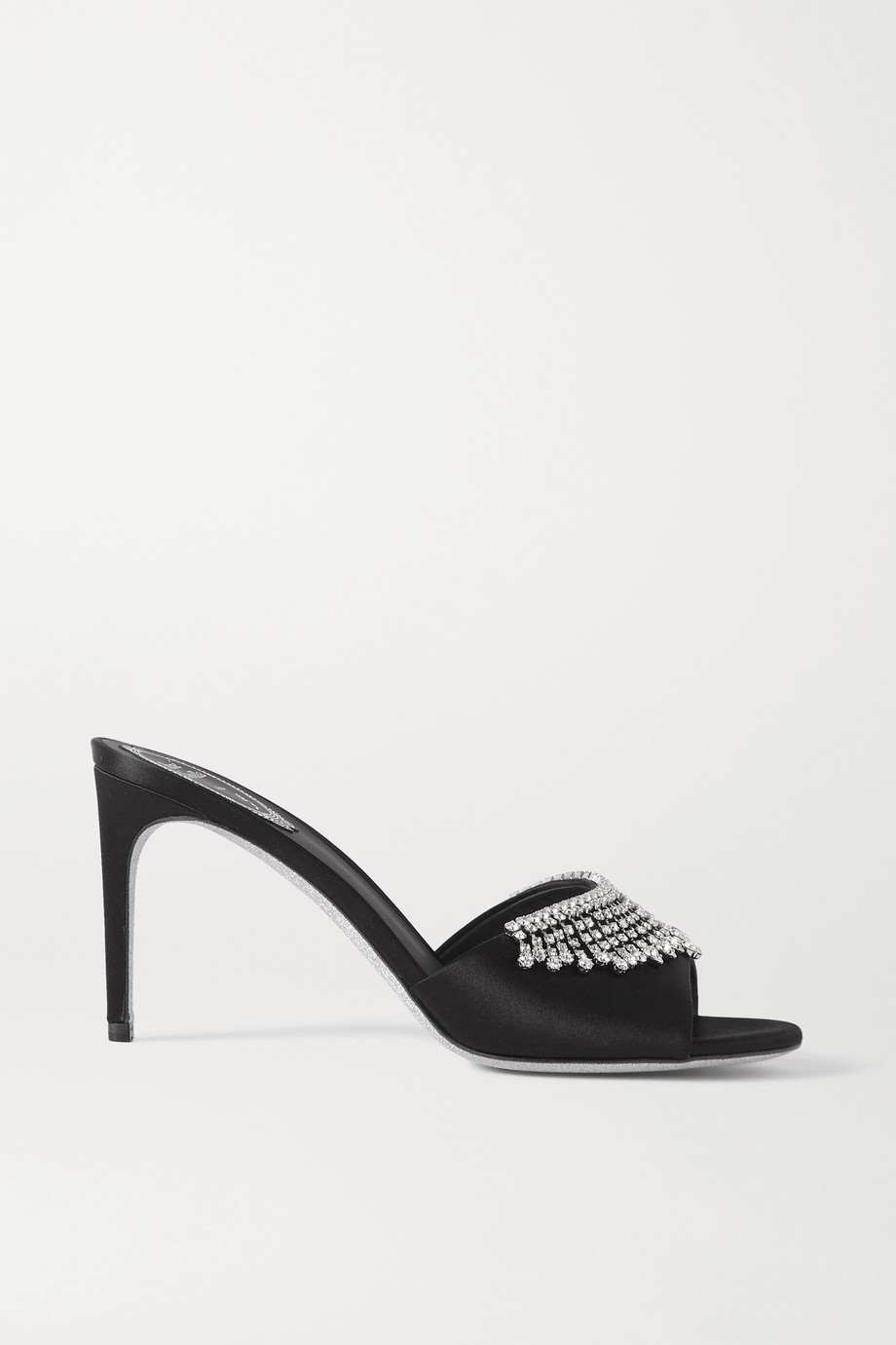 René Caovilla 水晶缀饰缎布穆勒鞋